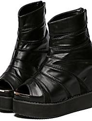 Women's Shoes Patent Leather Flat Heel Comfort Boots Outdoor Black