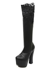 Calçados Femininos Couro Sintético Salto Grosso Modelos Botas Casual Preto