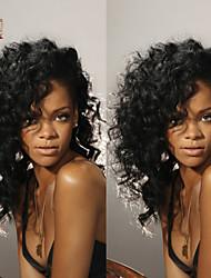 "10""-26"" Glueless Full Lace Wig Natural Wave Malaysian Virgin Hair Color #1B Natural Black Baby Hair for Black Women"