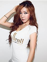 Camiseta ( Algodão ) Sexy/Bodycon - Fina - Padrão