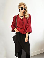 Women's Solid Red Blouse , Round Neck Long Sleeve Button