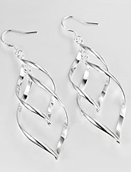 Wedding Dress Twist Design Silver Plated Drop Earrings for Lady