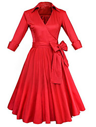 Damen A-Linie Kleid-Party/Cocktail Retro Solide V-Ausschnitt Knielang ¾-Arm Rot Schwarz Baumwolle Polyester Frühling Sommer Hohe Hüfthöhe