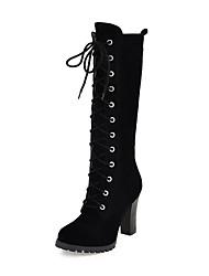 Calçados Femininos Courino Salto Grosso Arrendondado/Botas da Moda Botas Escritório & Trabalho/Social/Casual Preto/Amarelo