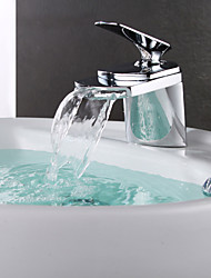 Contemporary Centerset Waterfall Ceramic Valve Single Handle One Hole with Chrome