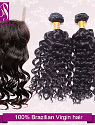 """3 Bundles Brazilian Deep Wave Virgin Hair With Closure Size 4""""x3"""" Unprocessed Human Hair Weave And Lace Closures"""