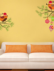 Wall Stickers Wall Decals Style Cartoon Wearing A Christmas Hat of Love Birds PVC Wall Stickers