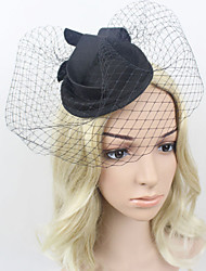 Women Satin/Net British Style Hats/Birdcage Veils With Wedding/Party Headpiece Black/Red