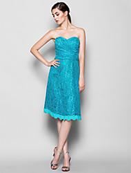 Knee-length Lace Bridesmaid Dress - Jade Sheath/Column Sweetheart