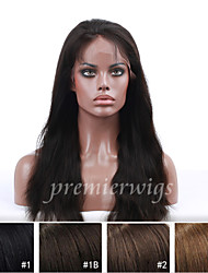 14''-20'' Natural Straight Remy Virgin Brazilian Human Hair Wigs Silk Top Lace Front Wigs With Baby Hair For Black Women