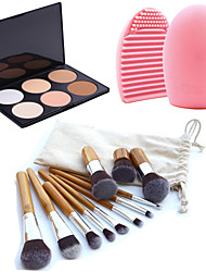 11pcs Makeup Cosmetic Eyebrow Foundation Kabuki Brushes Kits+6 Colors Face Powder Makeup Palette+Brush Cleaning Tool