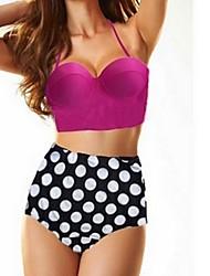 Damen Bikinis  -  Hochgeschnitten/Punkt Push-Up/Drahtlos Polyester Bandeau