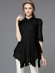 Women's V Neck/Shirt Collar Pocket/Lace/Flower/Pleated Blouse , Silk/Cotton ½ Length Sleeve Sexy Waist Coat