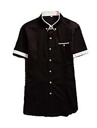 Men's Casual/Work/Formal/Sport Pure Thin Section Short Sleeve Regular Shirt (Cotton Blend)