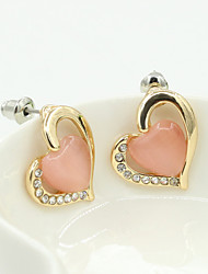 Stud Earrings Imitation Pearl Cubic Zirconia Alloy Fashion Beige Pink Light Green Jewelry 1set