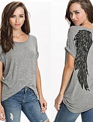 Women's T-Shirts , Cotton Casual/Work Short Sleeve KaMan