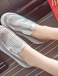 Women's Shoes Faux Leather Flat Heel Novelty/Closed Toe Flats Dress/Casual Silver/Gold
