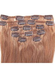 15 pulgadas 7pcs / clip de 70g en extensiones de cabello humano brasileño recto sedoso # 8 de castañas marrones