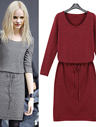 Women's Solid Color Red / Gray Dresses , Bodycon Round Long Sleeve
