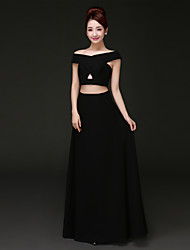 Homecoming Formal Evening Dress - Black A-line Off-the-shoulder Floor-length Chiffon