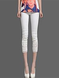 Legging Couleur Pleine Moyen Mélanges de Coton/Dentelle Femme