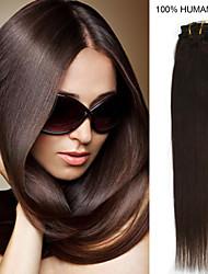 26inch 10st / set 160g clip-in hair remy human hair extensions 12 kleuren voor vrouwen schoonheid