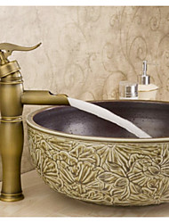 Antique Brass Bamboo Style Bathroom Basin Faucet Waterfall Sink Vessel Mixer Tap