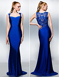 Formal Evening Dress - Royal Blue Trumpet/Mermaid Queen Anne Sweep/Brush Train Jersey
