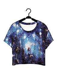Informell Rund - Kurzarm - FRAUEN - T-Shirts ( Baumwoll Mischung )