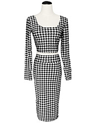 Women's Houndstooth Print High Waist Two-Piece Set
