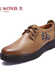 Zapatos de Hombre Oficina y Trabajo/Casual/Fiesta y Noche Cuero Oxfords Marrón/Caqui