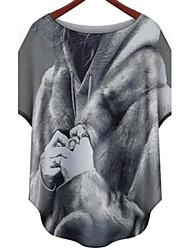 Women's Print Multi-color Blouse , Round Neck ½ Length Sleeve Ruffle
