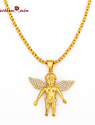 WesternRain High quality plated gold inlaid rhinestones Crystal Angel Pendant Necklace Fashion Jewelry Christmas gifts