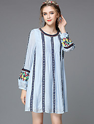 Plus Size Women Clothing Autumn Vintage Ethnic Embroider Elegant Pleat Patchwork Stripe Loose Casual/Party/Work Dress