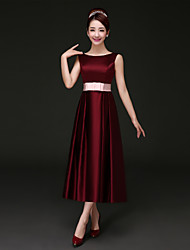 Tea-length Satin Bridesmaid Dress - Burgundy A-line Bateau
