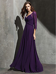 Formal Evening Dress - Grape A-line Sweetheart Floor-length Lace/Georgette
