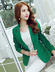 Women's Solid Green/Yellow Blazer , Sexy/Casual/Cute/Party/Work V Neck Long Sleeve