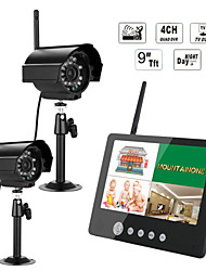 ENNIO 9 inch 2.4G Wireless Two Cameras Audio Video Baby Monitors 4CH Quad DVR Security System With IR night light