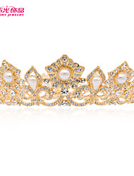 Neoglory Jewelry Flower Gold Tiara Crown Accessories for Clear Austrian Rhinestone Lady/Bridal Pageant/Wedding