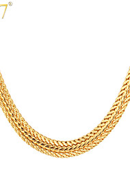 U7® Men's Classic Thick Foxtail Chains 18K Gold/Rose Gold/Platinum Plated Men Jewelry 22'' Fashion Choker Necklaces