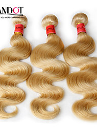 "3 Pcs Lot 12""-30"" Platinum Bleach Blonde 613 Virgin Hair Brazilian Body Wave Remy Human Hair Weave Bundles Machine Wefts"