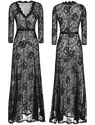 Women's V-Neck Bandage Dress , Cotton Blend/Lace Vintage/Bodycon/Casual/Party/Work Long Sleeve VERYM