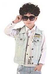 Boy's Summer/Spring/Fall Micro-elastic Medium Sleeveless Jeans Jackets Washed Denim Vests