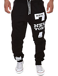 Men's Print Casual / Sport Sweatpants,Cotton Blend Black / White / Gray