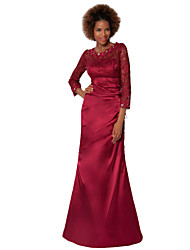 Sheath/Column Mother of the Bride Dress - Burgundy Floor-length Lace / Satin