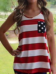 Women's Sexy Beach Casual Stripes Print Vest Tank Top