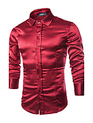 Men's Solid Work Shirt,Others Long Sleeve Black / Purple / Red