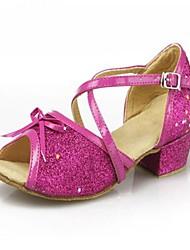 Non Customizable Women's / Kids' Dance Shoes Leatherette / Paillette Leatherette / Paillette Latin Heels Low HeelPractice / Beginner /
