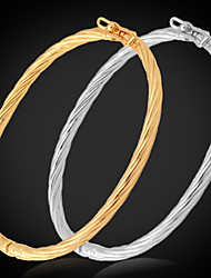 U7® Simple Design Bangles For Women / Men 18K Real Gold Platinum Plated Bracelets Bangle