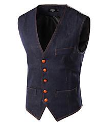 Men's Casual/Work Pure Sleeveless Regular Vest (Denim)